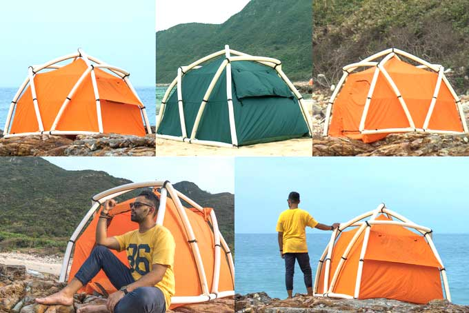 TentTube: An Inflatable Tent That Can Be Pitched in One Minute