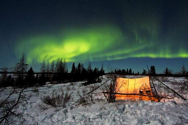 Northern Lights Camping Winter in Canada